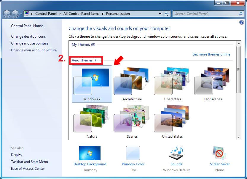 انتخاب Aero Themes در ویندوز 7